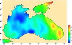 Карта температуры и облачности Черного моря со спутника