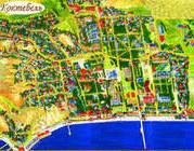 Карта Коктебеля, Крым, 1600х1200